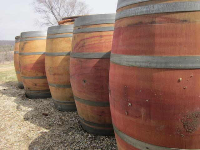 Beautiful used recycled wine barrels
