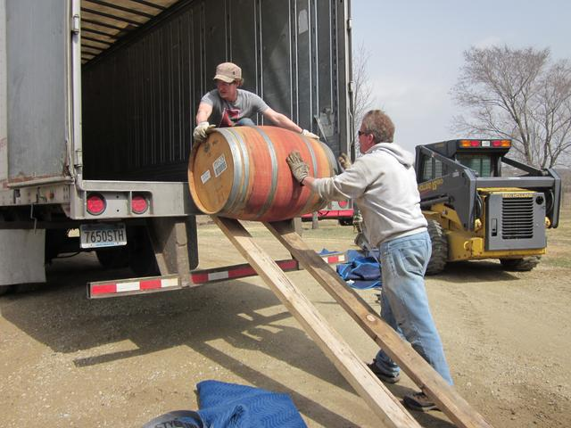 Unloading one last wine barrel in Austin, MN